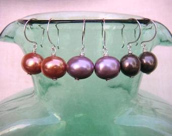Oval Purple Pearl Drops Big Pearl Earrings Colorful Glass Pearl Dangles Big Pearl Earrings Sterling Silver Earrings