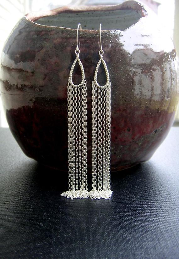 long silver chain earrings beaded teardrop hoops waterfall