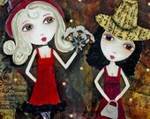 Wild West Saloon Babies - Mixed Media Art Collage Painting ACEO / ATC Print
