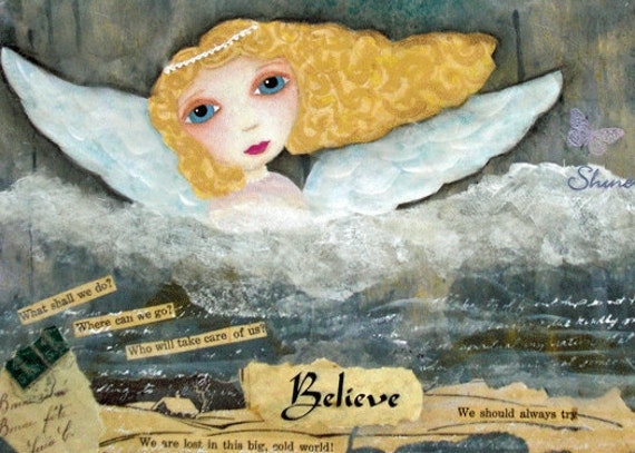 Someone To Watch Over Me, Angel, ACEO, Blonde, Believe, Protect, mixed media art, mixed media print, mixed media, artist, Alicia J Hayes