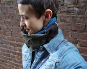 Wearable Art Cowl/Neck Warmer in Olive/ Upcycled/Unisex Winter Cowl