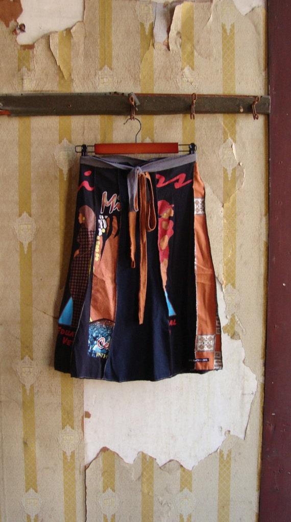 Eco Skirt/ T Shirt Skirt/ Womens Skirt/ Upcycled/ Earthy and Elegant/ Aline Black and Brown Skirt/ethnic