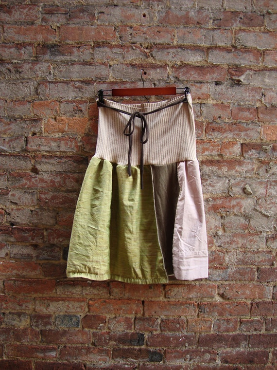 Upcycled Skirt/ Knee Length Skirt/ in Sage Silk