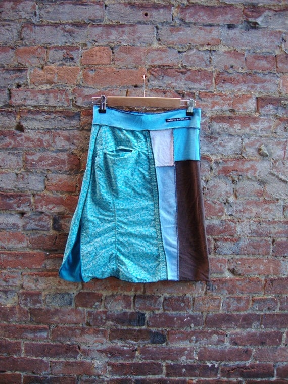 Womens Aline Skirt/ Eco Upcycled Skirt/ with Pocket and Side Slit/Eco Clothing