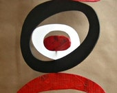 Recycled Foam Board Mobile (Red, Black and White)