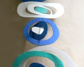 Recycle Foam Board Mobile in White, Blue and Aqua Green