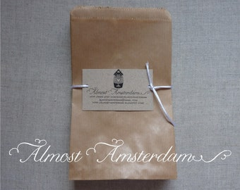 25 to 75 Medium Brown paper bags - 120 x 190 mm (4.7 x 7.4 inches)