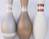 Vintage Bowling Pins Refurbished Hand Painted Silver, Bronze, Copper, White