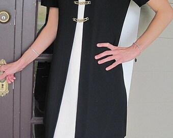 Vintage Black Dress, Vintage Evan-Picone, Vintage Ladies Dress, Vintage Womens Dress, Vintage Black, Black and Cream, Ladies Black Dress
