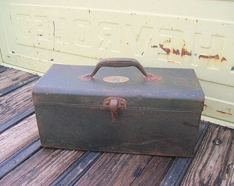 Industrial Toolbox, Metal Tool Box, Industrial Decor, Manly Man Decor, Green Toolbox, Metal Storage Box, Industrial Metal Box, Vintage Box
