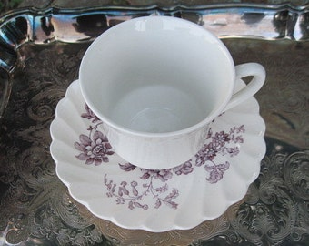 Teacup and Saucer, Mismatched Teacup, English Tea Set, Wedgewood China Cup, Staffordshire Saucer, Mismatched Set, English China, Plum Saucer