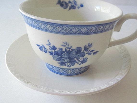 Blue Floral Teacup and Saucer