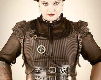 Steampunk harness in upcycled rubber vegan