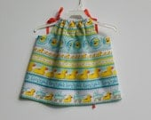 Pillowcase Dress - Yellow Rubber Duckies in Rows - 14 Inches or 18 Inches Long