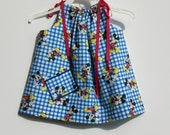 "Mickey Mouse on Royal Blue and White Checkered 15"" Long Pillowcase Dress With Grosgrain Ribbon Ties - HANDMADE - Other Patterns Available"