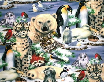 "Arctic Snow Animals 20"" Square Cloth Napkins - Handmade - Set of 4 - Other Animals Available"
