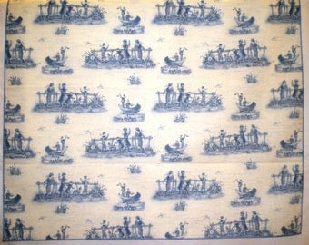 Blue and Cream Toile Large 18-Inch Square Cloth Napkins - HANDMADE