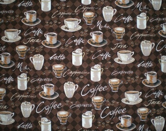 Reversible Placemats - Set of Four - Coffees and Diamond Pattern - 13 Inches by 18 Inches