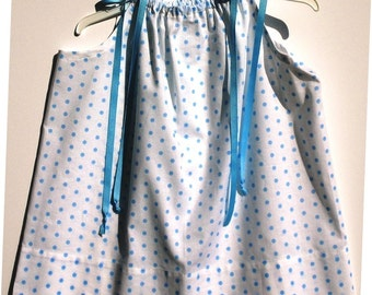 "Pillowcase Dress - White With Blue Dots and Blue Grosgrain Ribbon Ties - 18"" Long - Other Patterns and Lengths Available"