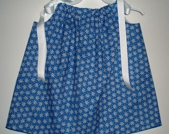 "Snowflakes on a Blue Background Pillowcase Dress - 17"" Long - HANDMADE"