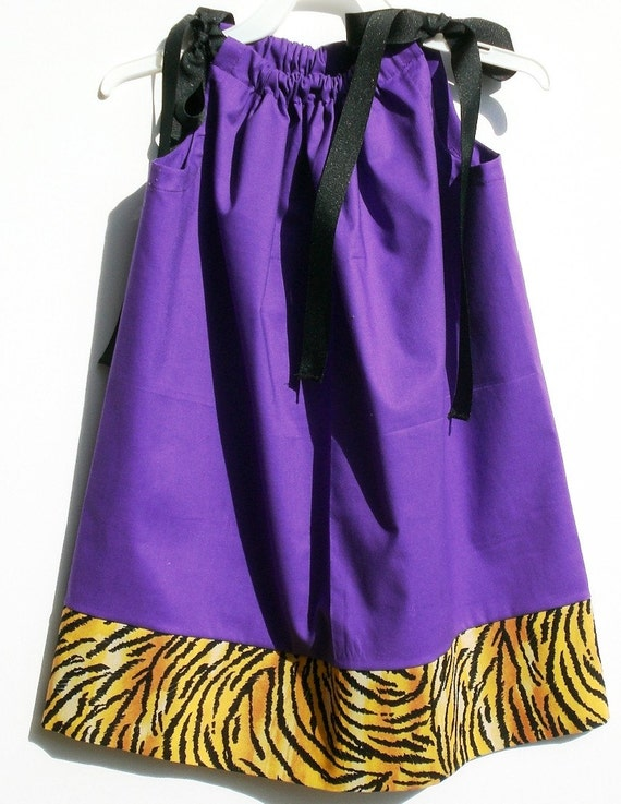 Purple Pillowcase Dress with 5-Inch Tiger Band - 22 Inches Long - Other LSU Fabics Available