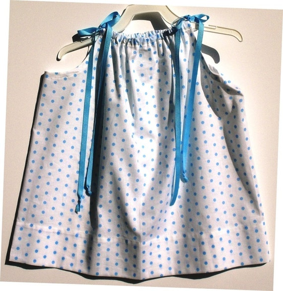 "Pillowcase Dress - White With Blue Dots and Blue Grosgrain Ribbon Ties - 18"" Long - Others Patterns and Lengths Available"
