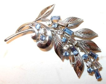 Be Exceptional... Vintage 1940s-50s Sterling Carl Art Leaf Blue Rhinestone Brooch