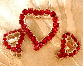 Be Mine.... Vintage Red Rhinestone Heart Brooch and Earring Set