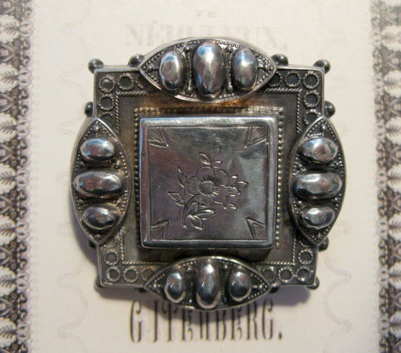 Be Sterling... Early Victorian Sterling Repousse Mourning or Memento Brooch Pin