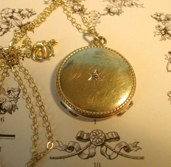Be Edwardian.... Lovely 14k Gold Edwardian Locket with Diamond... Initial Letters BTS PM