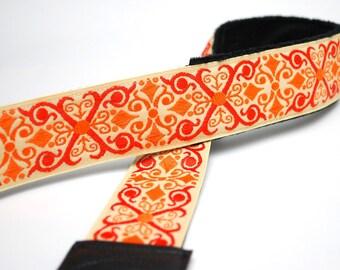 Orange DSLR Camera Strap - Padded Camera Strap - Gifts for Photographer Birthday - Nikon Camera Strap - Camera Accessories - Orange Vintage