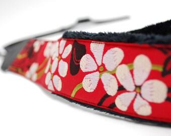 Red SLR Camera Strap - Red & White Blossom