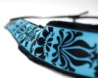 SLR Camera Strap- Blue/Black Damask