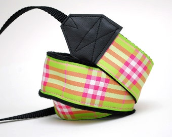 SLR Camera Strap - Photographer Gift - Camera Staps - Pink and Green Plaid
