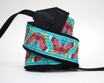 Camera Strap slr- Butterfly Stripes (blue, pink, green)