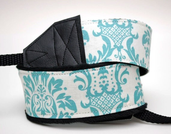 DSLR Camera Strap - Padded Camera Strap - Camera Accessories - Nikon Camera Strap - Canon Strap - Wedding Photographer Gift - Aqua Damask