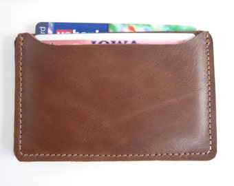 Brown Woven & Brown Leather ID Holder