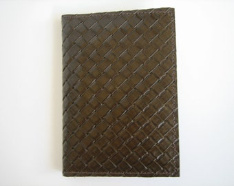 Olive Green Woven Leather Passport Cover
