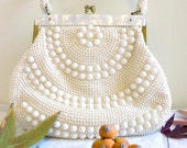 Vintage 1950's White & Gold Beaded Purse for Day or Night, Special Occasion, Casual, or Wedding