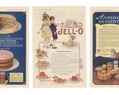 1918 Ladies Home Journal Vintage Ads, Set of 3, Desserts, Jell-O, Baking, Kitchen, Art, Home Decor, Mother's Day