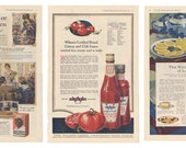 1918 Ladies Home Journal Ads, Set of 3, Catsup, Ketchup, Aunt Jemima, Pancakes, Sunkist Lemons, Kitchen, Baking, Parties, Mother's Day