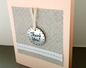 Set of 4 Thank You Cards - Pale Pink with Metal Gift Tag