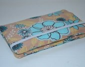 iPhone/iPod/Smart Phone Wallet - Beach Blue Flowers - Quilted, Fleece Interior