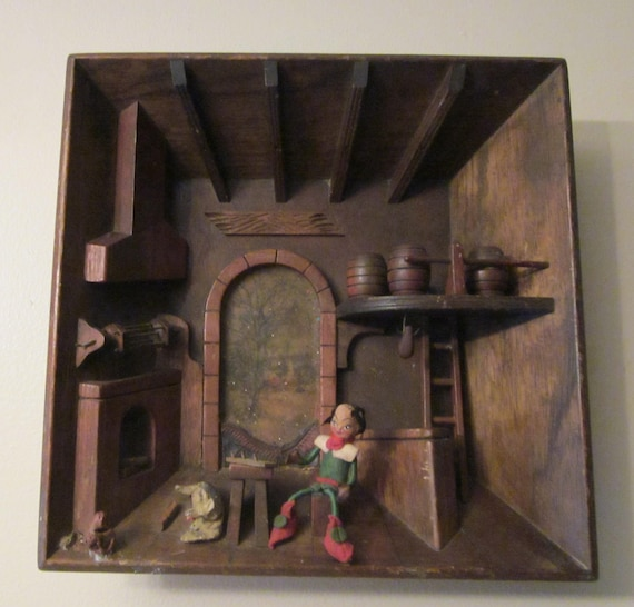 Large Antique Black Forest Diorama - Lonely German Elf in Workshop