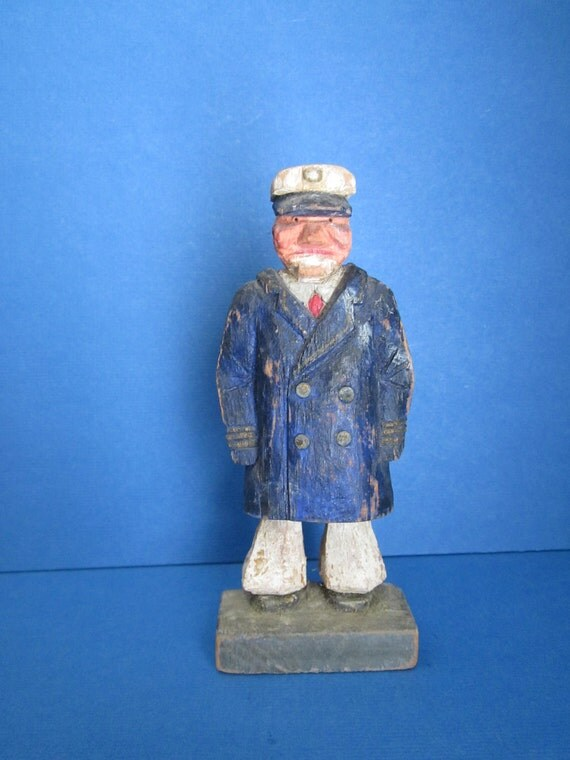 Nautical Signed Folk Art Wood Carving Sea Captain- Fathers Day Idea - Dad Gift