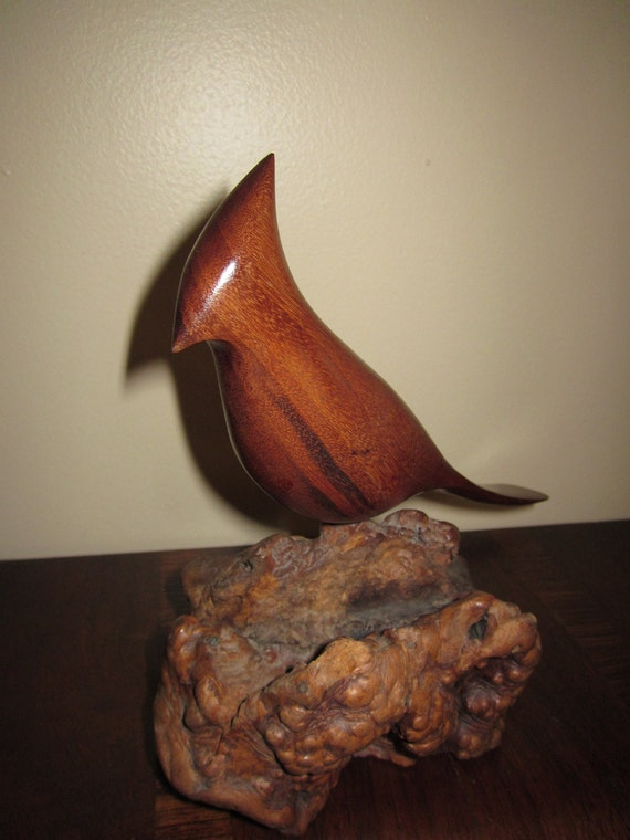 Signed Miles R Greer Folk Art Bird Carving - California Artist - Blue Jay - Goncalo Alves and Manzanita Wood
