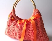 Orange Blossom - Knitted Handbag Shoulder Bag twist cable with Satin Ribbon