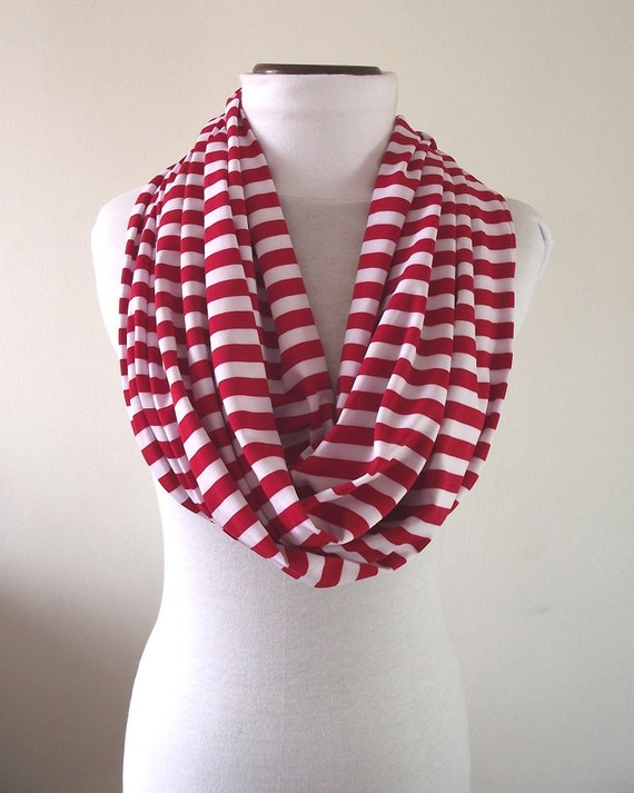 Striped INFINITY SCARF Red and White Stripes Upcycled Cotton Jersey Knit Loop Scarf by Lilia Vanini - Best Cotton Worldwide