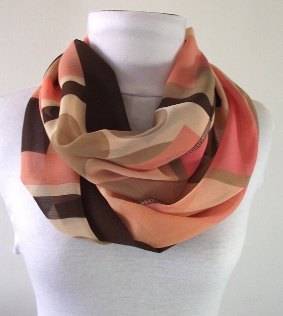 Chiffon Infinity Scarf....Coral, Brown, Cream...Circle Scarf...Loop scarf...Lightweight Spring Scarf....Elegant and Sophistication