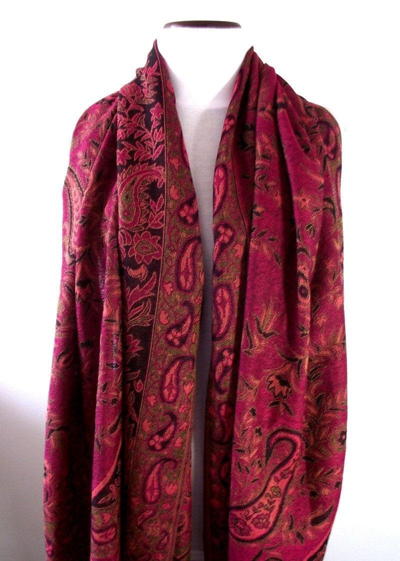 fuschia floral paisley pashmina scarf shawl 100  pashima by lilia  Pashmina Paisley Shawl